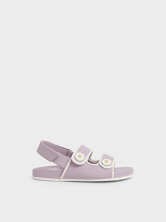Girls' Flower-Embellished Platform Sandals, Lilac, hi-res