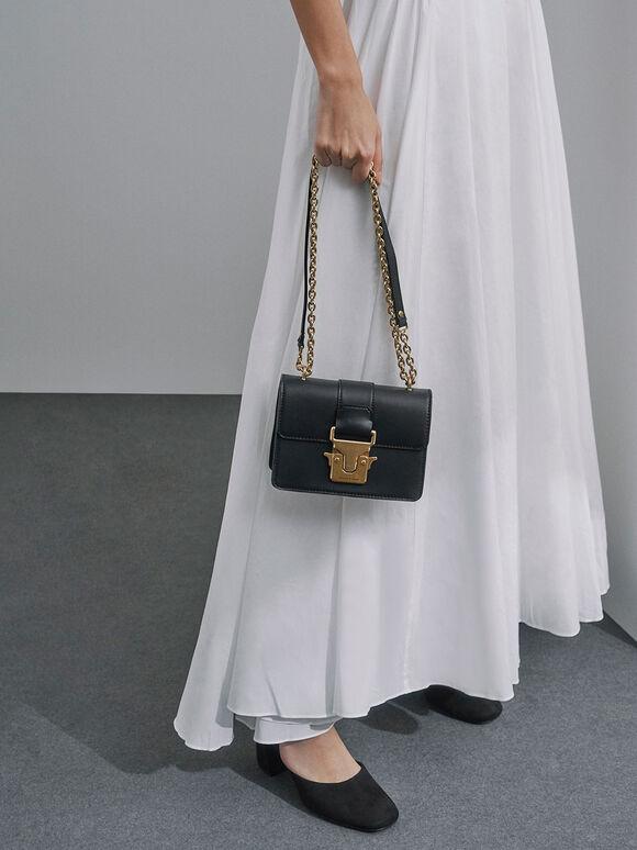 Double Handle Metallic Push-Lock Shoulder Bag, Black, hi-res