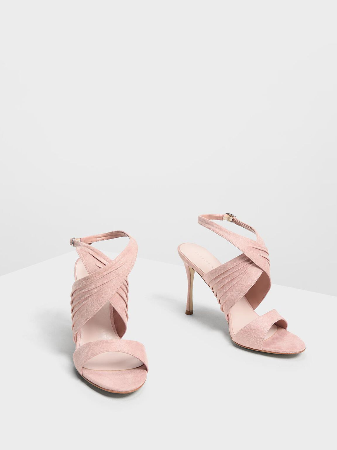 Criss Cross Pleated Heels, Blush, hi-res