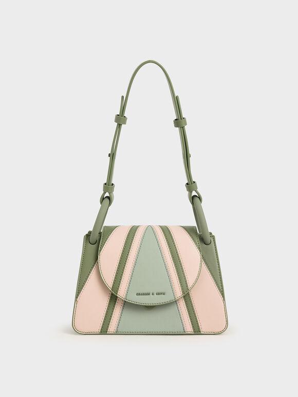 Printed Circular Flap Trapeze Bag, Mint Green, hi-res