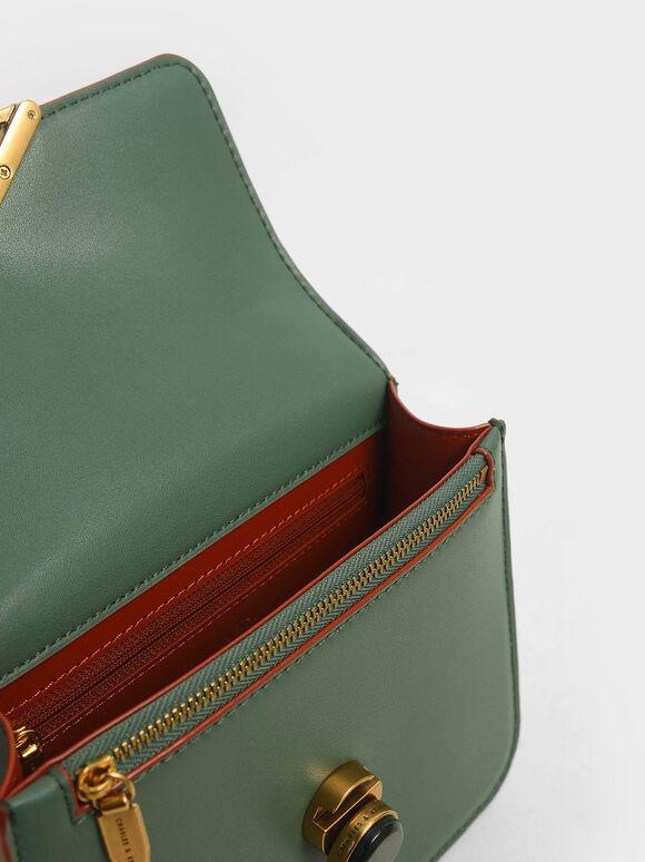 Stone Embellished Crossbody Bag, Green, hi-res