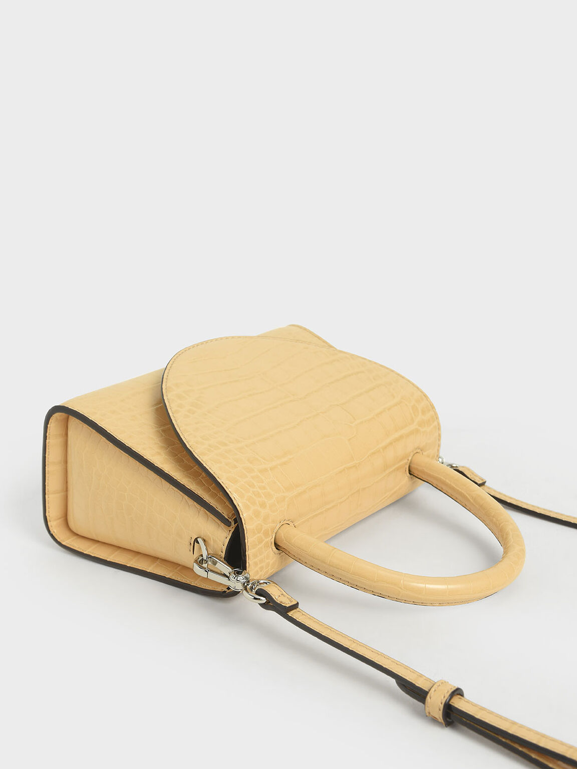 Croc-Effect Structured Top Handle Bag, Yellow, hi-res