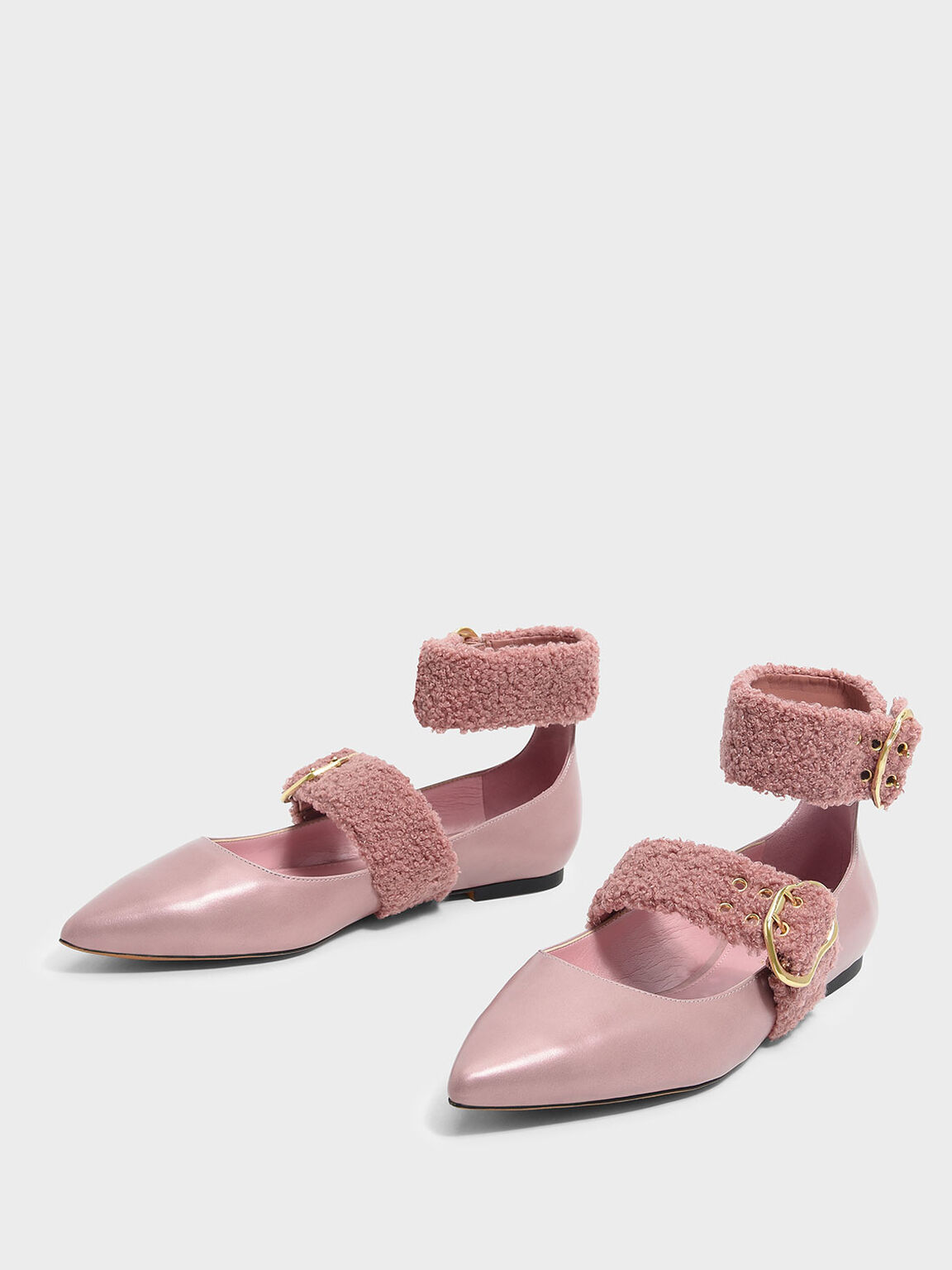 Ankle Strap Mary Jane Flats, Rose Gold, hi-res