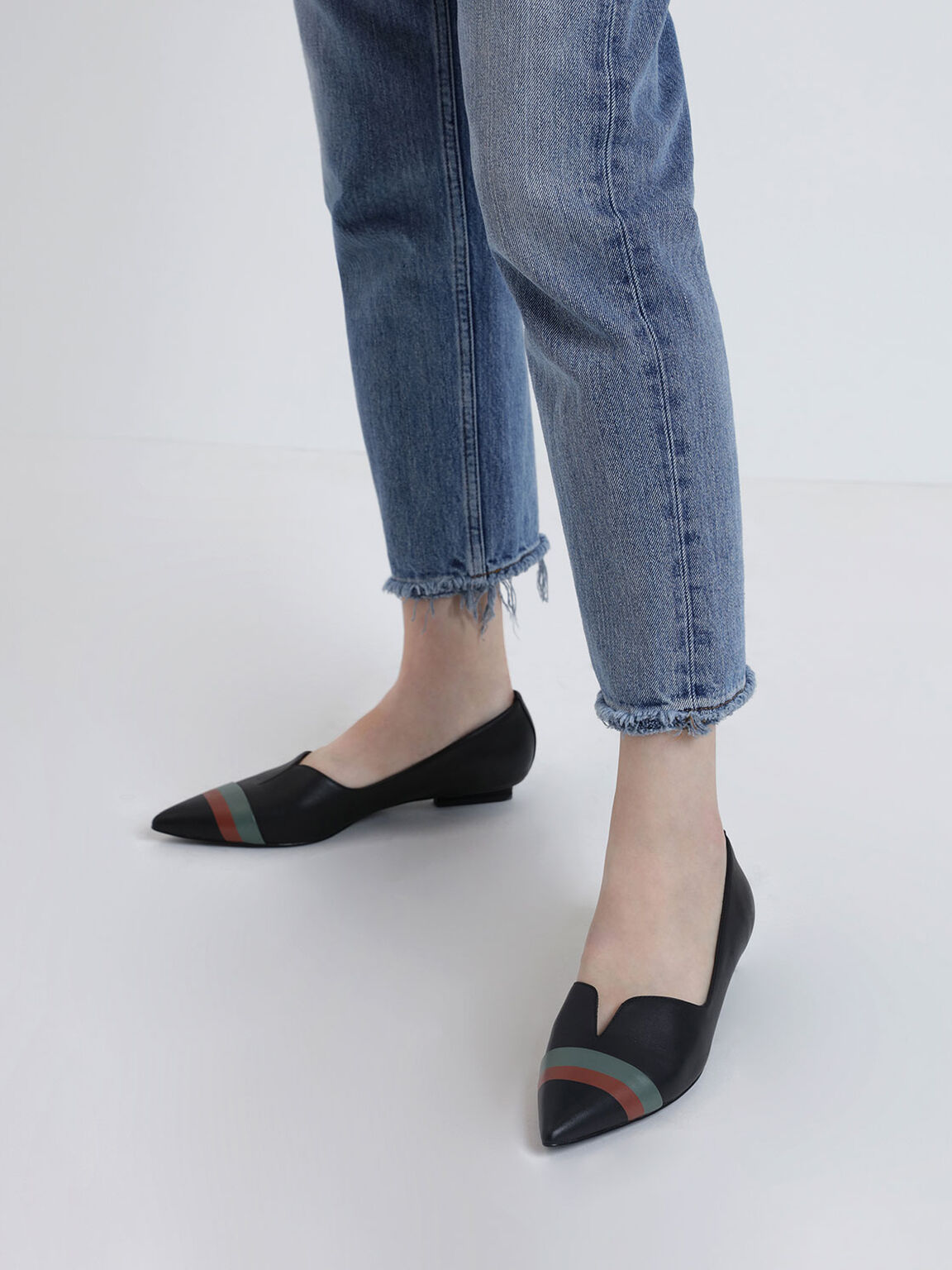 Striped Leather Ballerina Flats, Black, hi-res