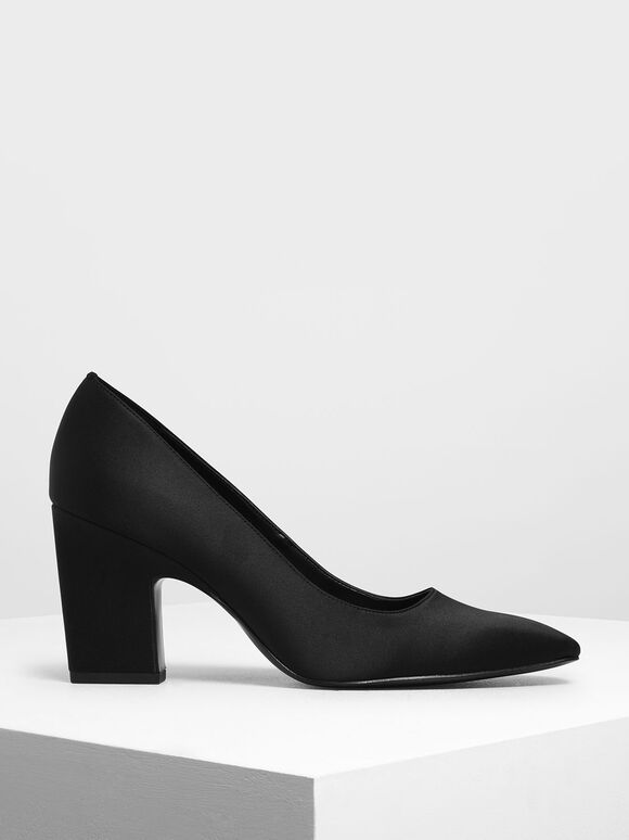 Satin Blade Heel Pumps, Black, hi-res