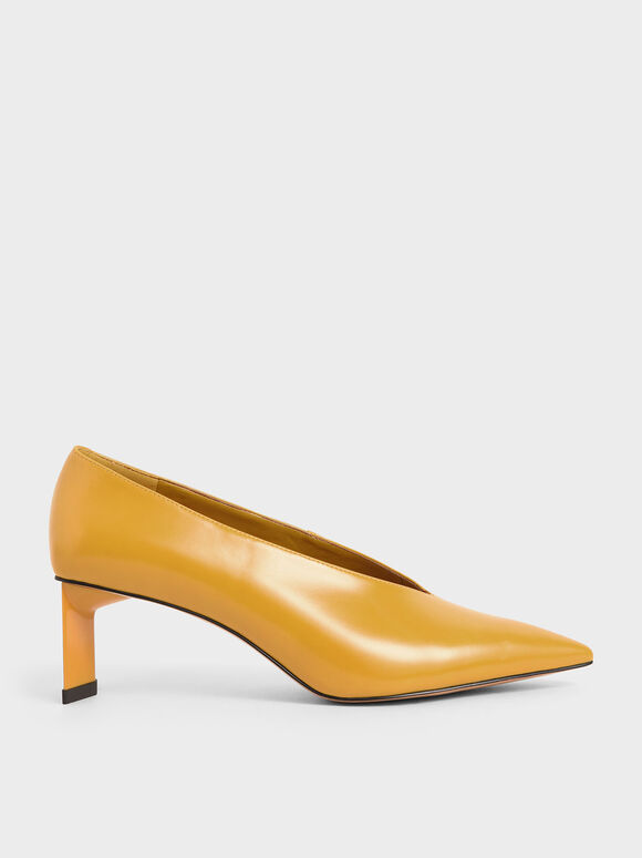 Blade Heel Pumps, Yellow, hi-res