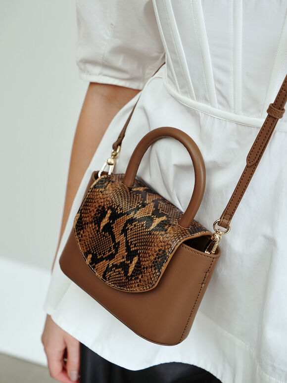 Snake Print Leather Cylinder Bag, Brown, hi-res