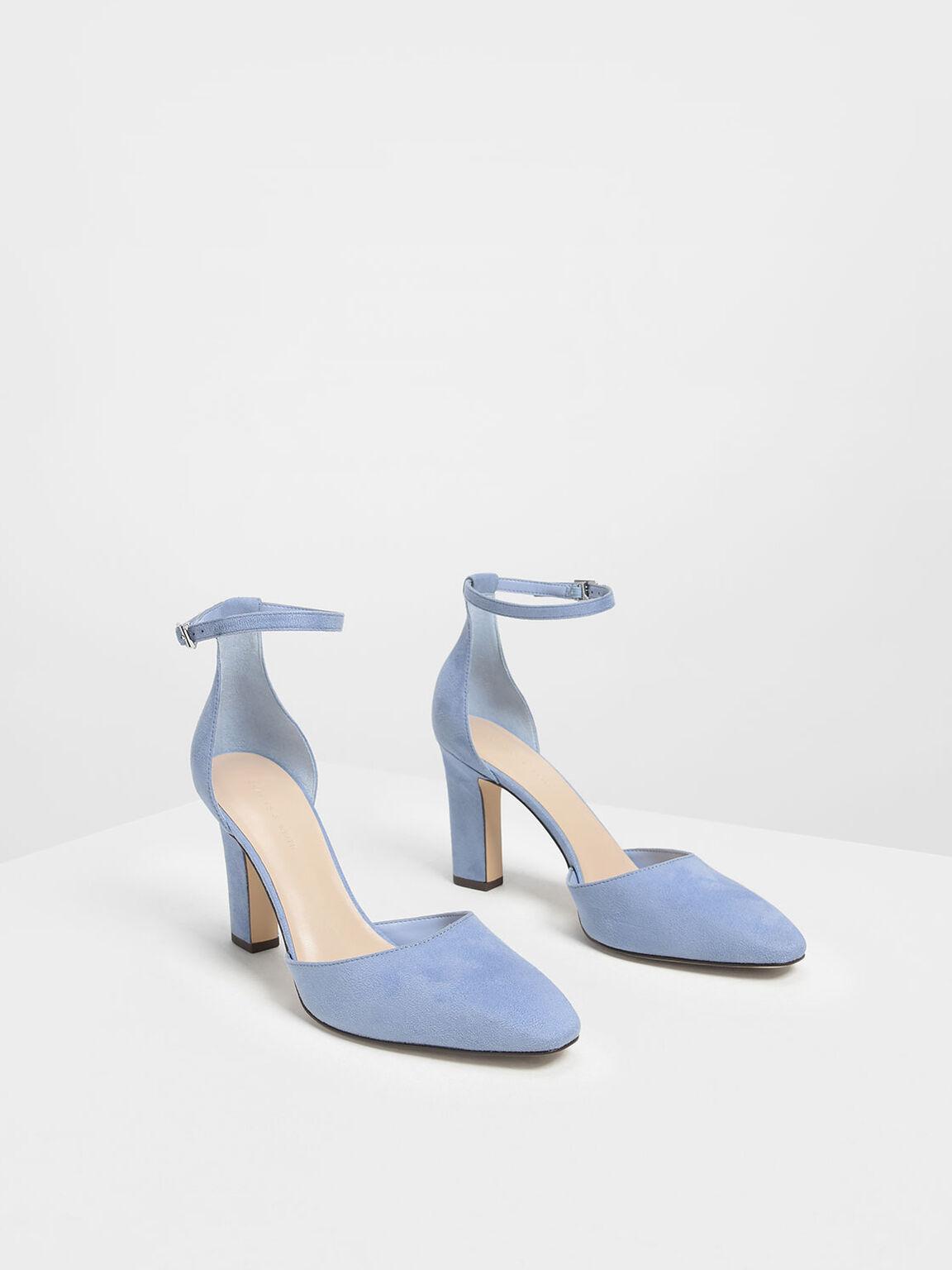 D'Orsay Ankle Strap Pumps, Light Blue, hi-res