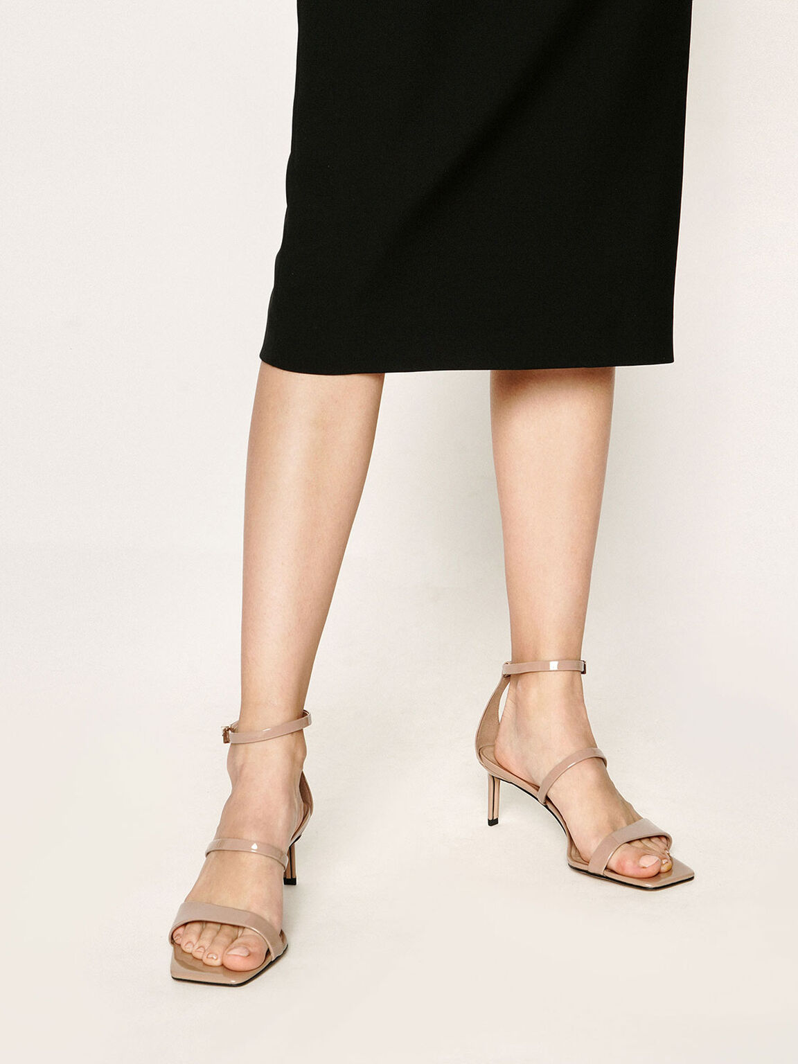 Patent Leather Strappy Heeled Sandals, Nude, hi-res