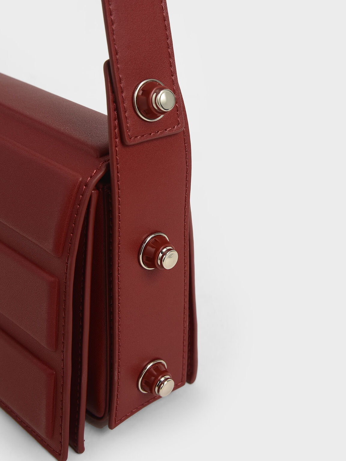 Eyelet-Embellished Top Handle Bag, Red, hi-res