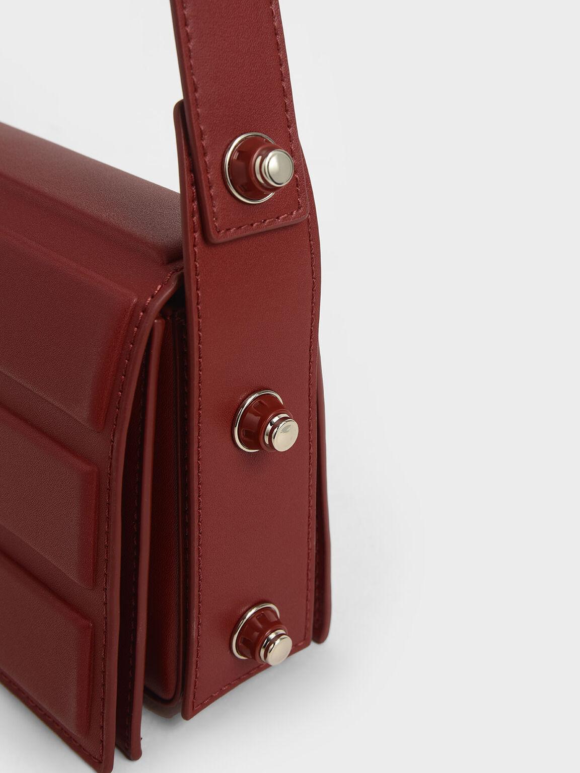 Eyelet-Embellished Top Handle Bag, Red, hi-res