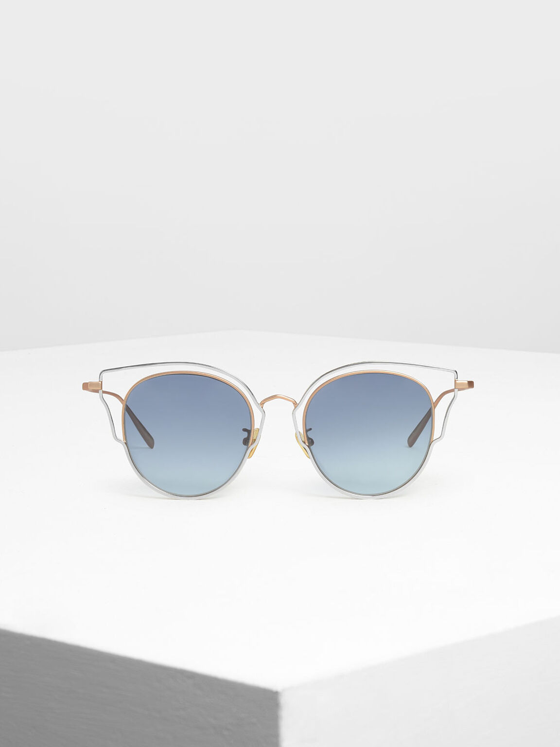 Double Frame Wingtip Sunglasses, Gold, hi-res