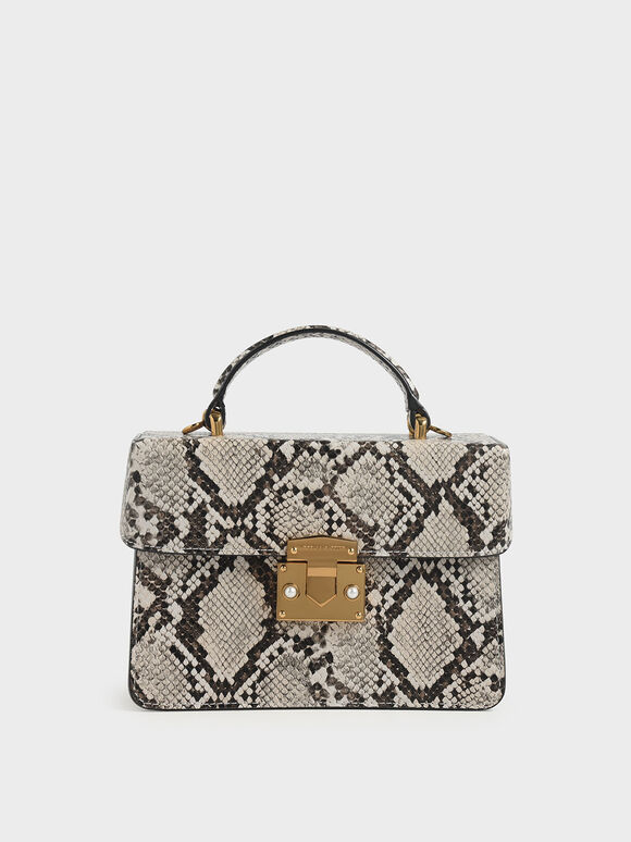 Snake Print Top Handle Bag, Taupe, hi-res