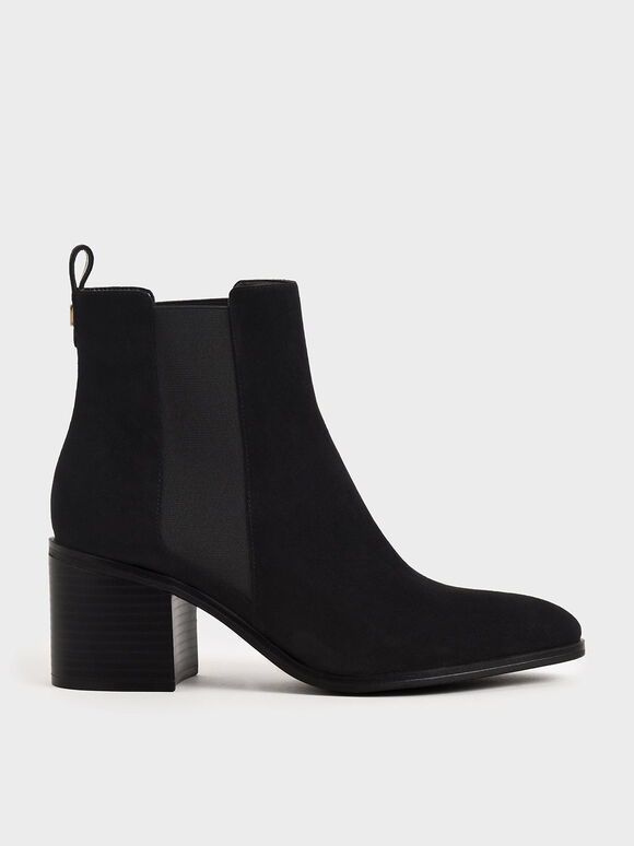Textured Block Heel Chelsea Boots, Black Textured, hi-res