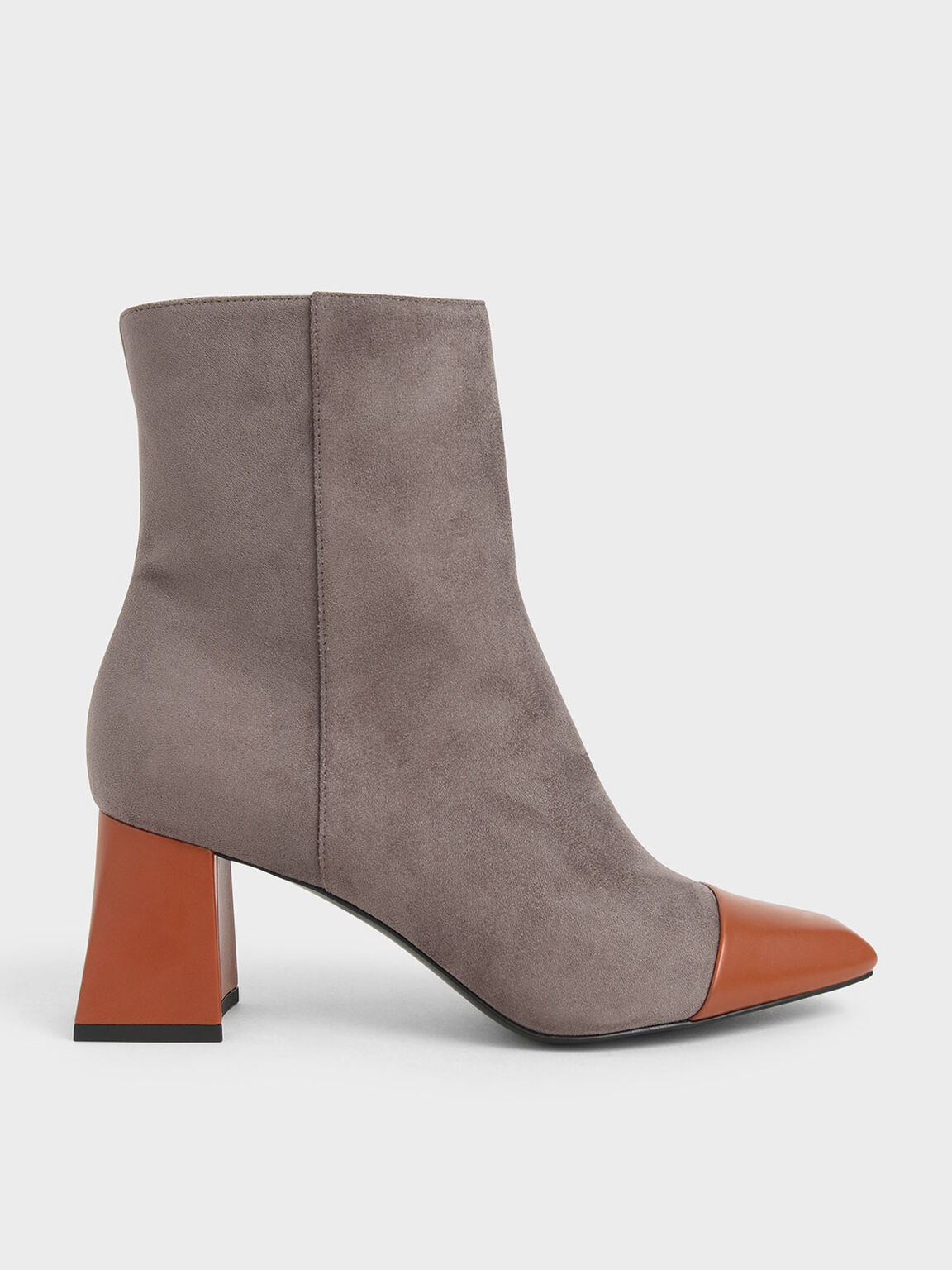 Two-Tone Textured Calf Boots, Dark Brown, hi-res