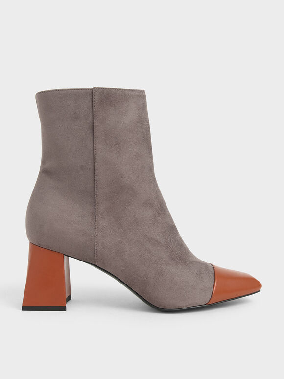 Two-Tone Textured Calf Boots, Dark Brown, hi-res