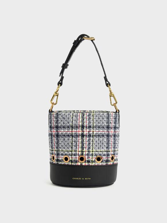 Girls' Tweed Bucket Bag, Dark Blue, hi-res