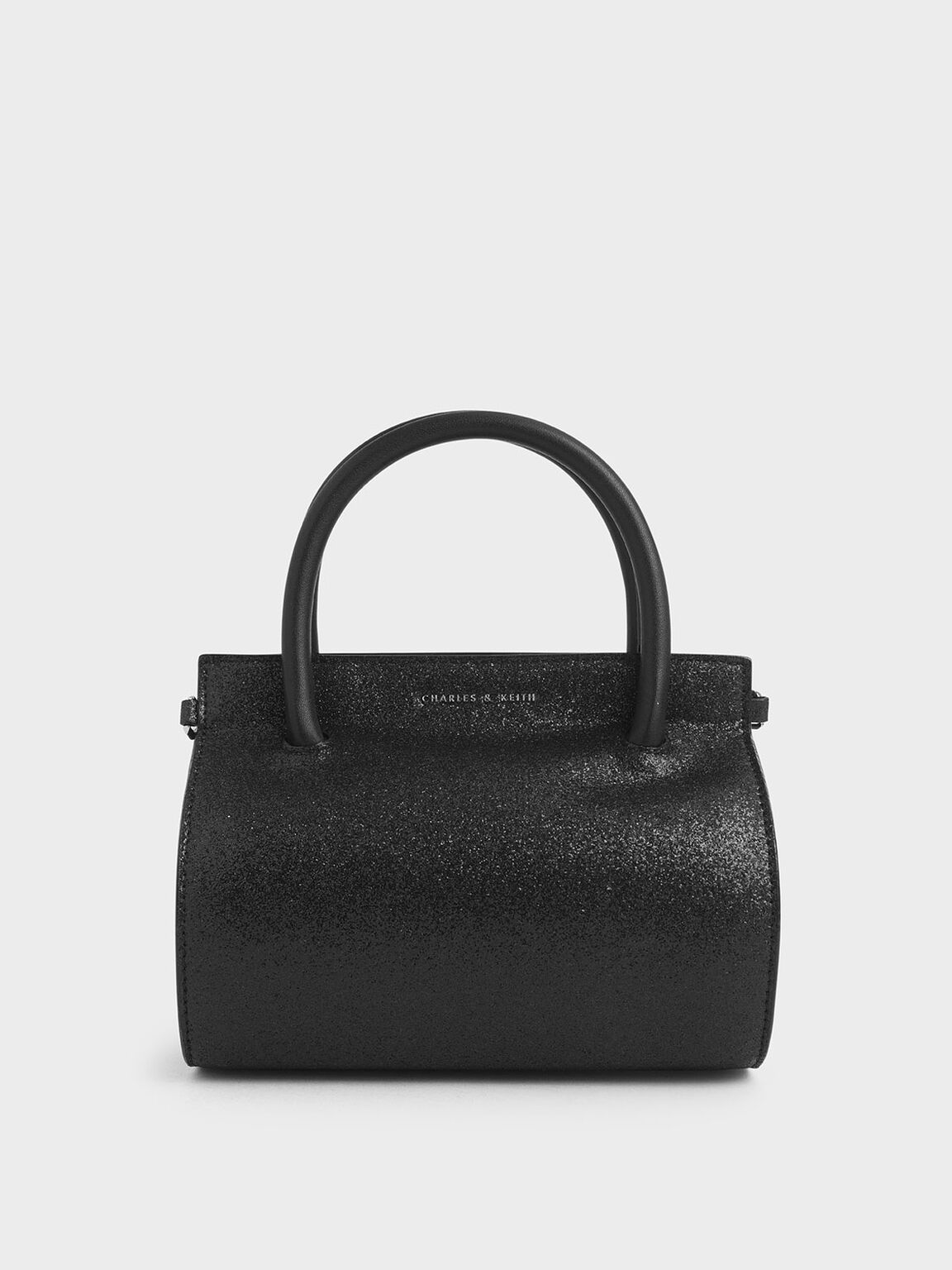 Glitter Structured Cylinder Bag, Black Textured, hi-res