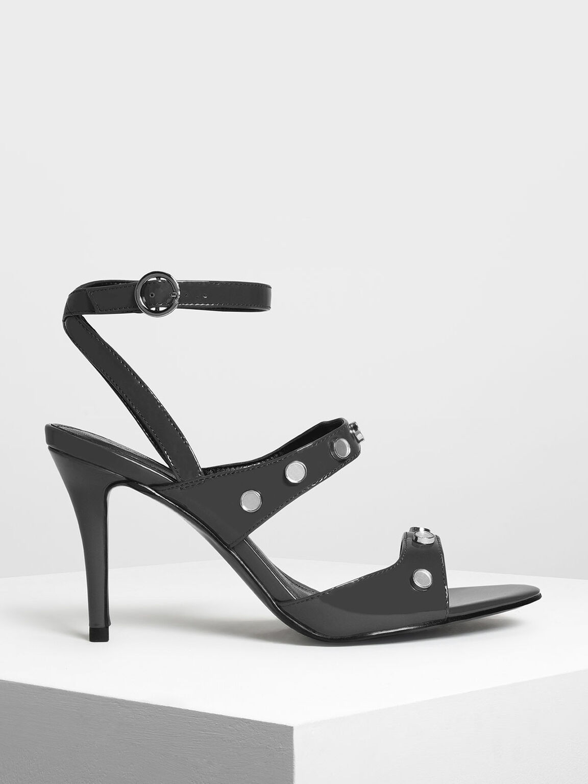 Stud Detail Heeled Sandals, Grey, hi-res