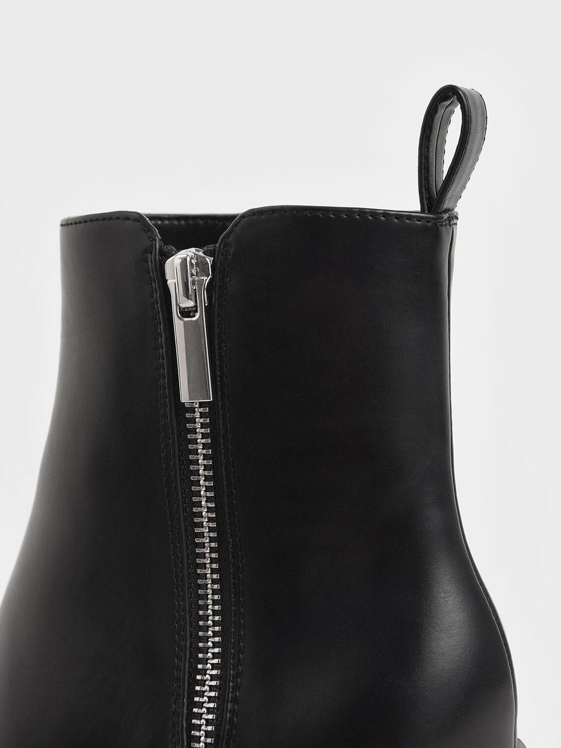 Side Zip Heeled Ankle Boots, Black, hi-res