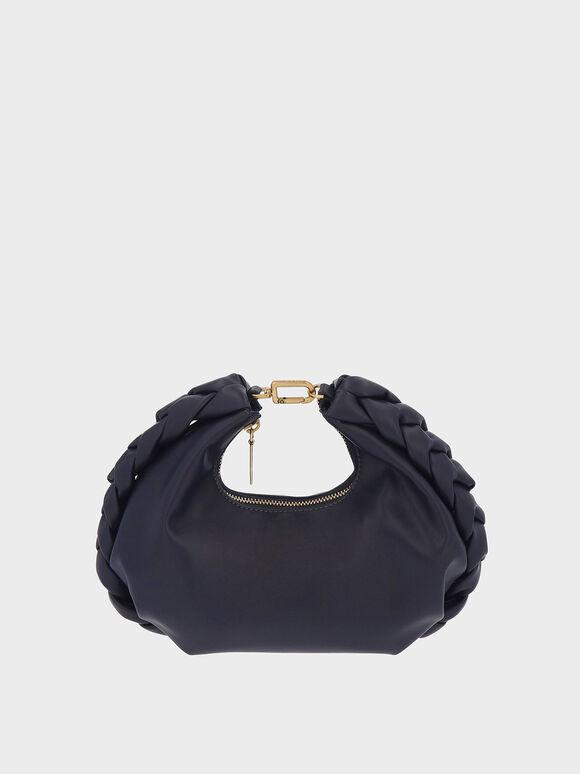 Chain Handle Braided Hobo Bag, Navy, hi-res
