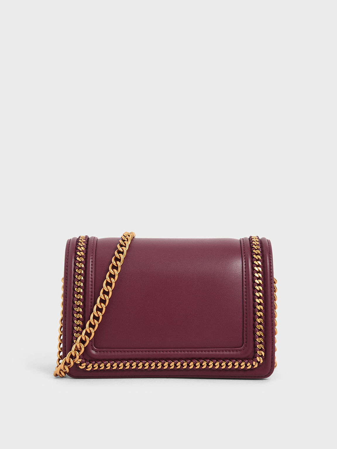 Chain Rimmed Crossbody Bag, Prune, hi-res