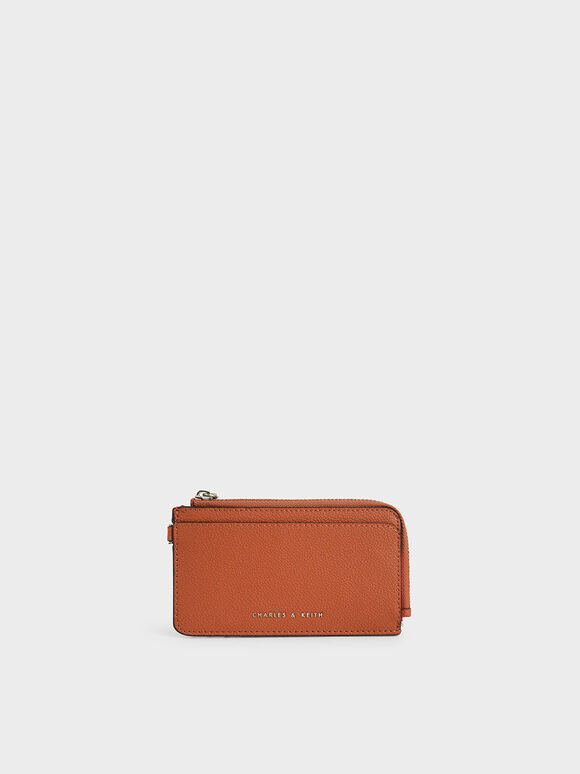 Top Zip Card Holder, Orange, hi-res