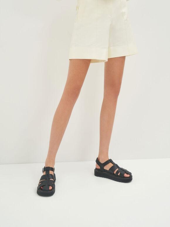 Cut-Out Sports Sandals, Black, hi-res