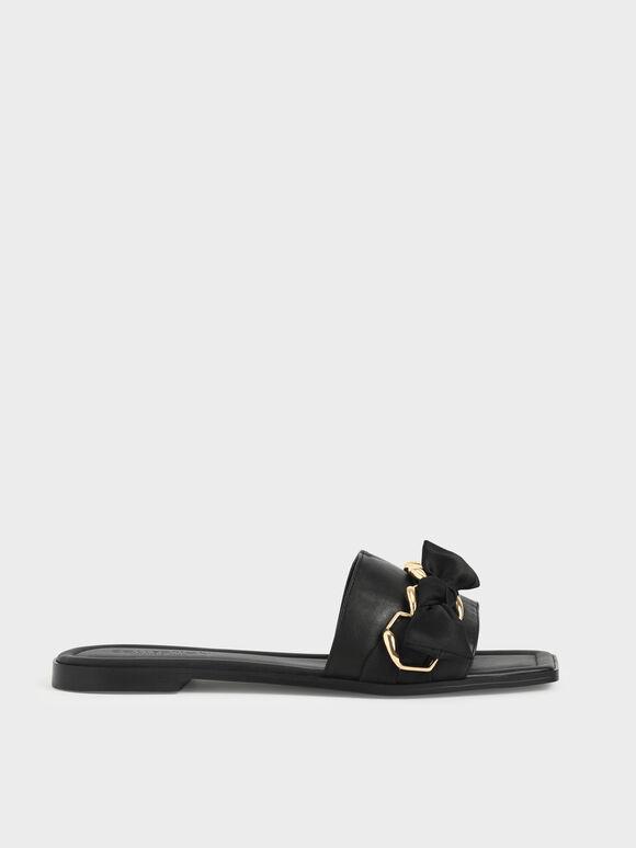 Satin Scarf Leather Slide Sandals, Black, hi-res