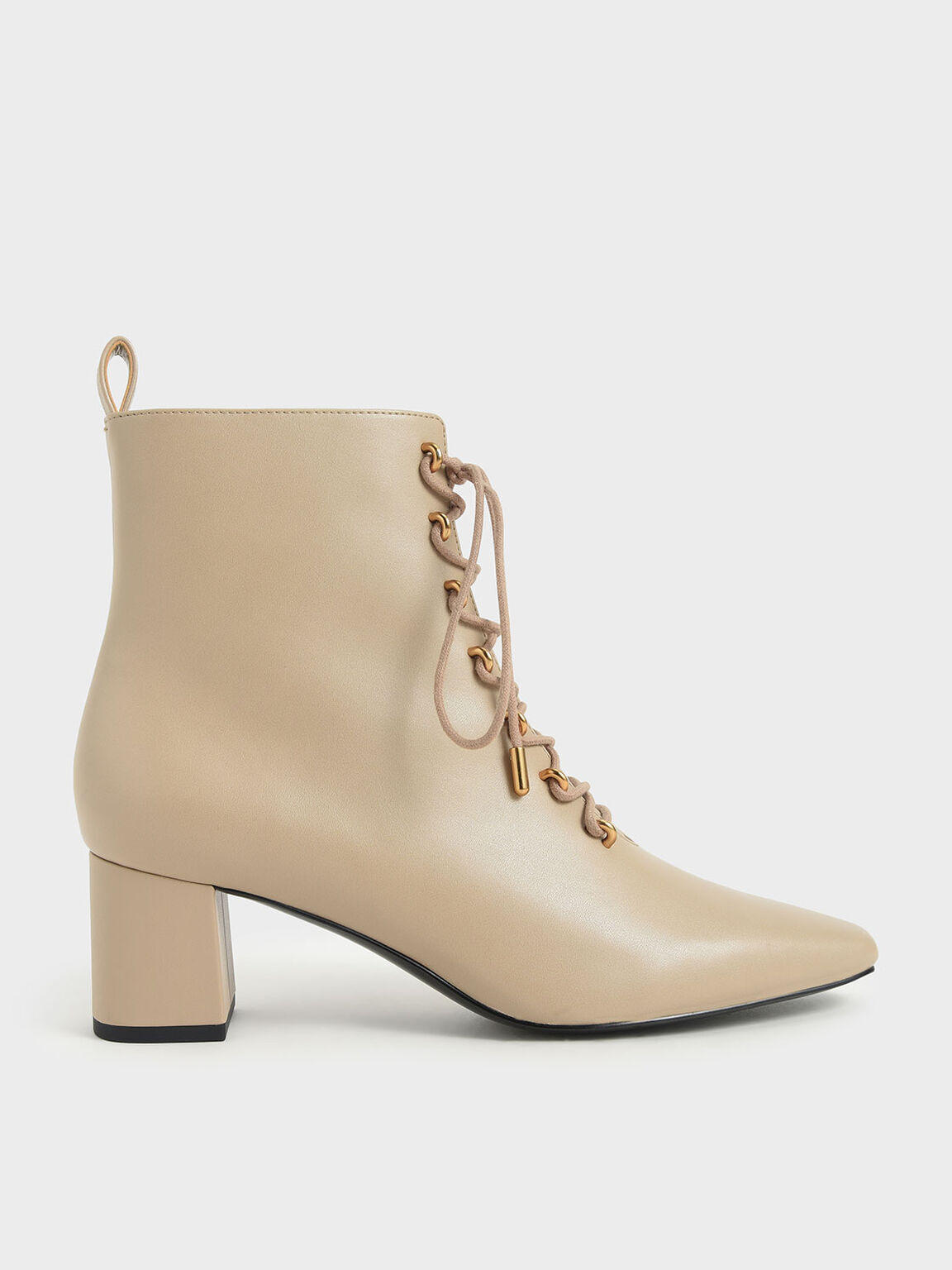 Metallic Lace-Up Ankle Boots, Beige, hi-res