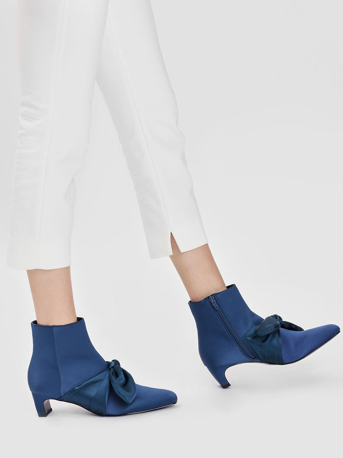 Scarf Bow Ankle Boots, Blue, hi-res