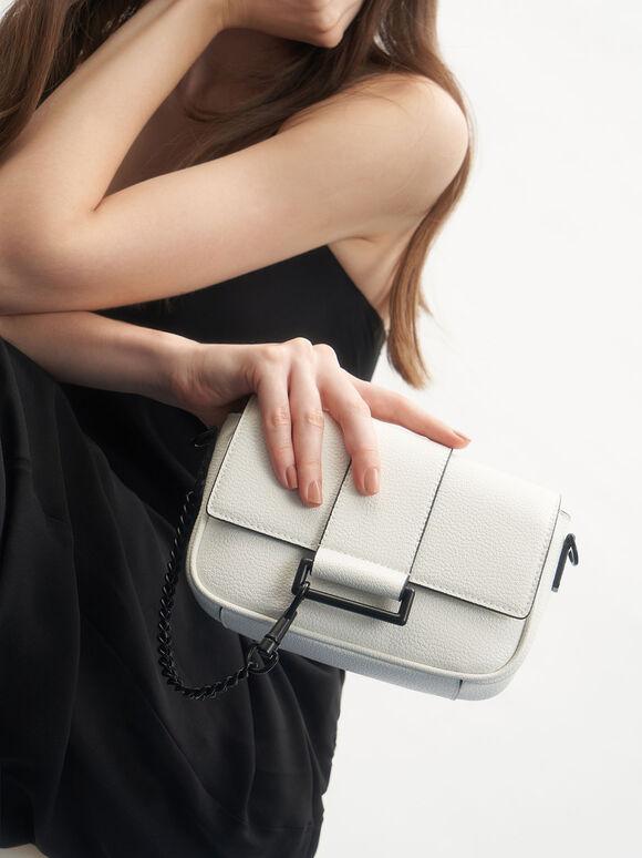 Chain Detail Crossbody Bag, White, hi-res