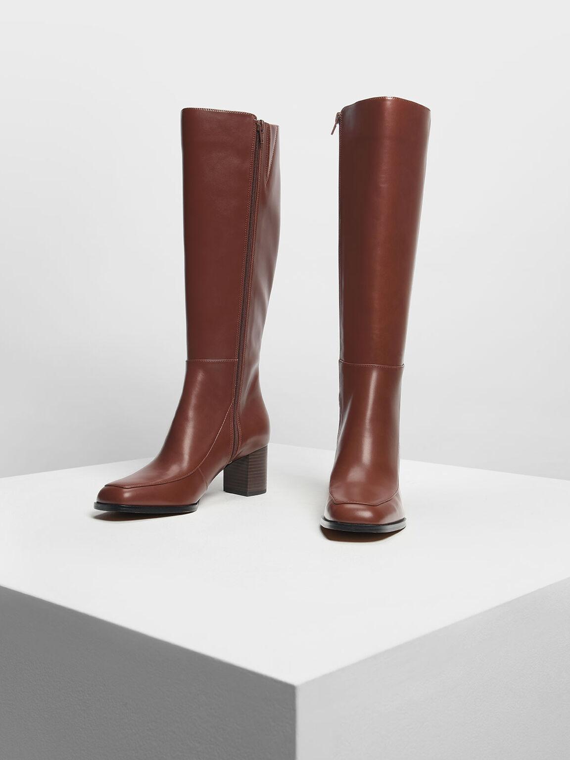 Block Heel Knee Boots, Cognac, hi-res
