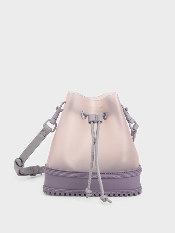 See-Through Effect Drawstring Bucket Bag, Lilac, hi-res