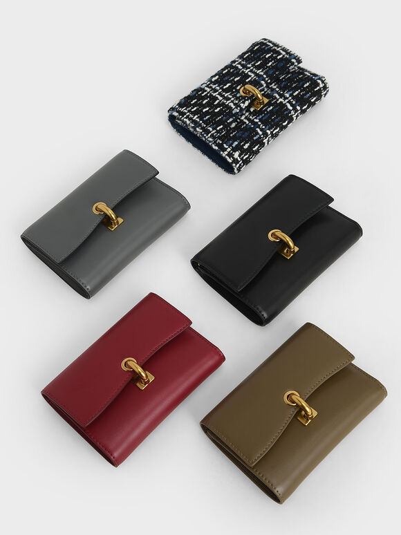 Metallic Turn-Lock Wallet, Red, hi-res