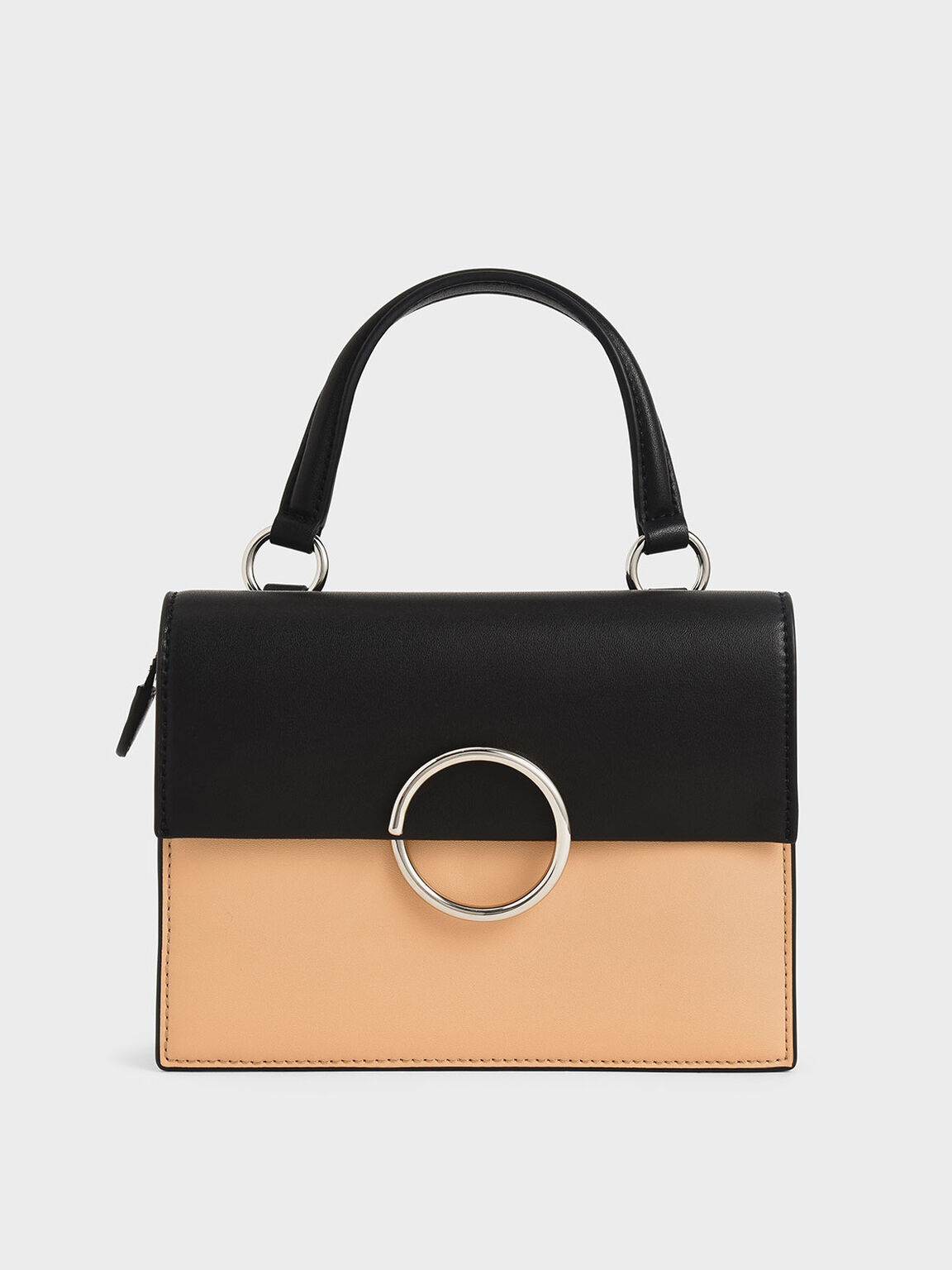 Two-Tone Ring Detail Top Handle Bag, Nude, hi-res