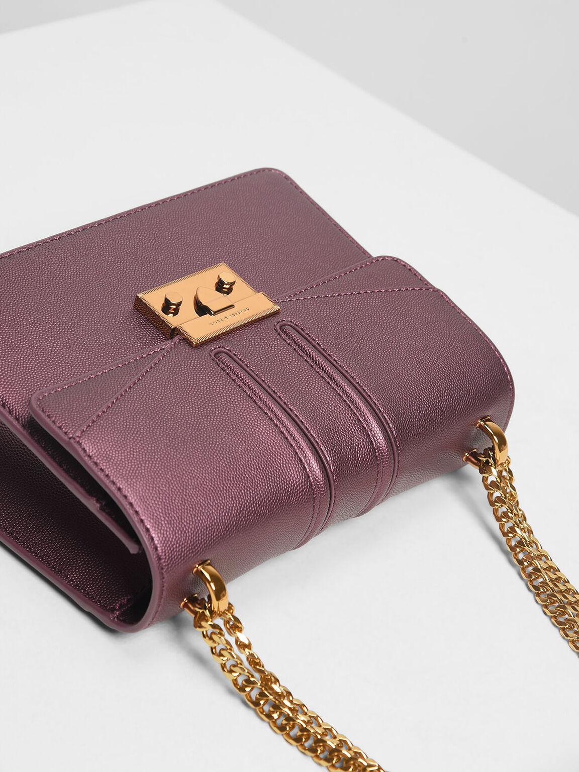 Push Lock Front Flap Bag, Prune, hi-res