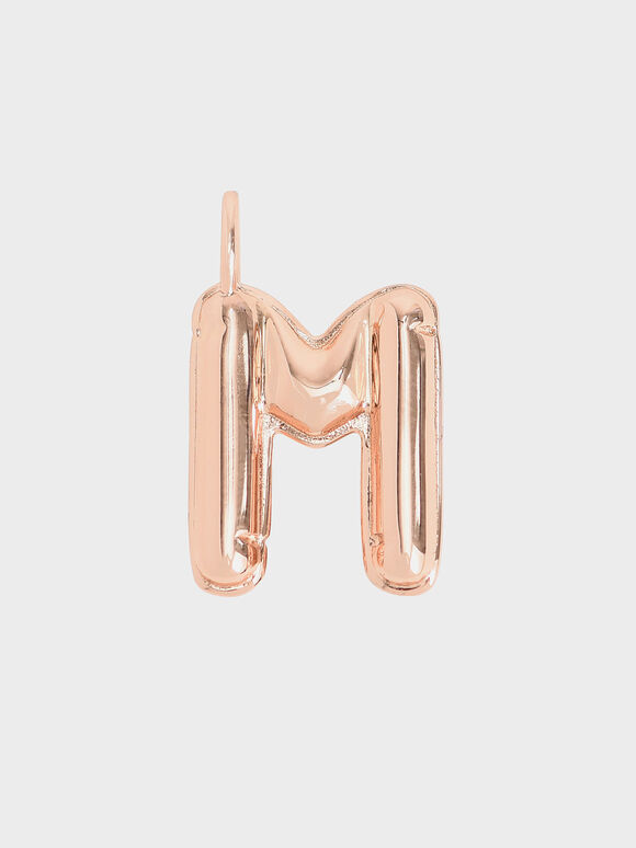 Alphabet 'M' Charm, Rose Gold, hi-res