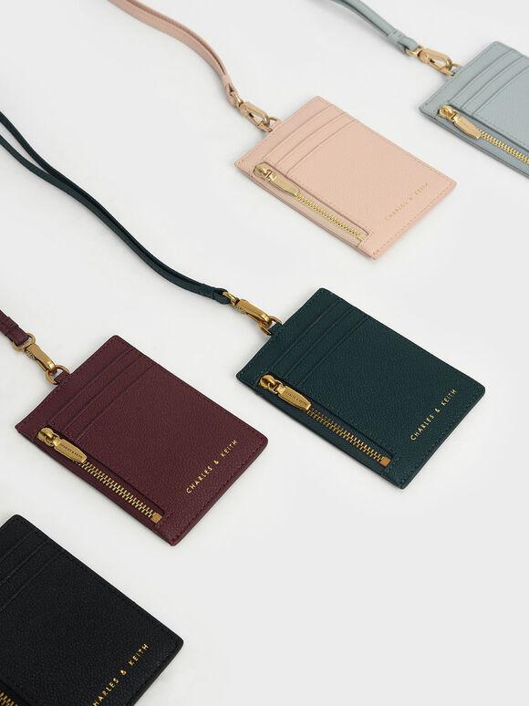 Side Zip Card Holder, Black, hi-res