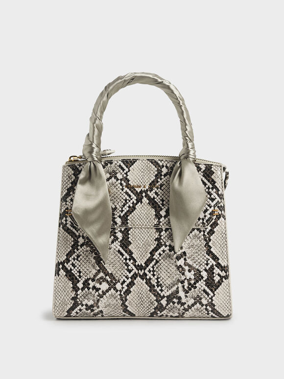 Snake Print Satin Scarf Handle Bag, Taupe, hi-res