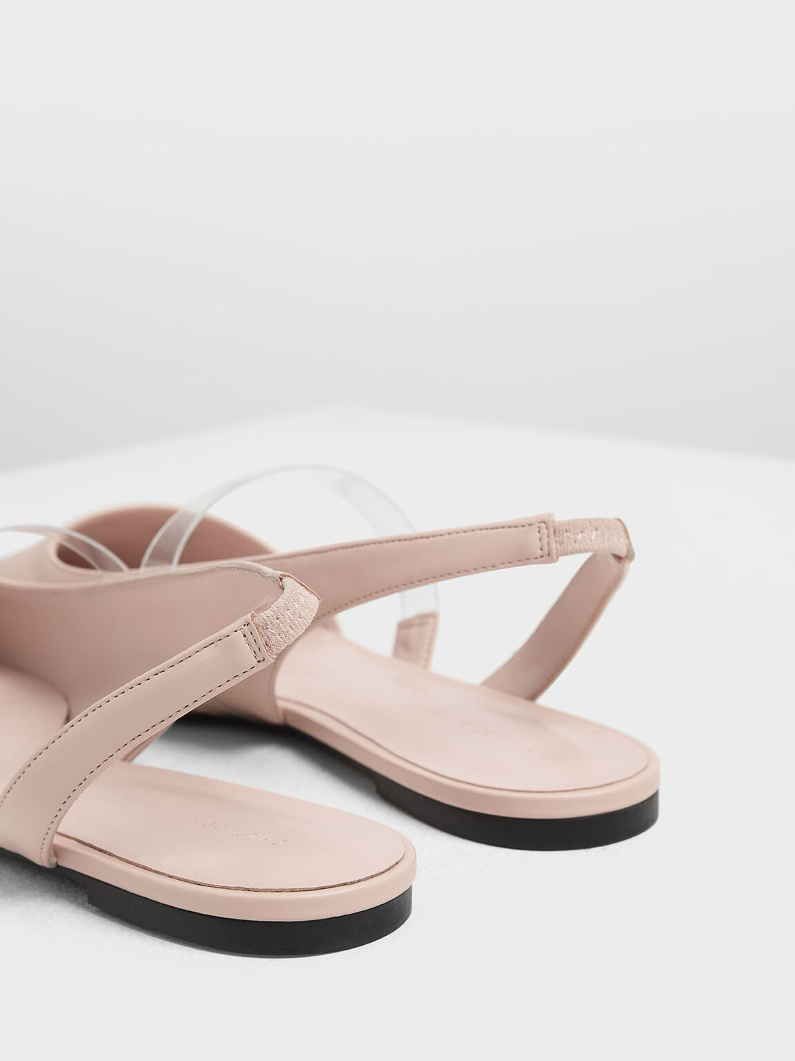 Clear Strap Slingback Flats, Pink, hi-res