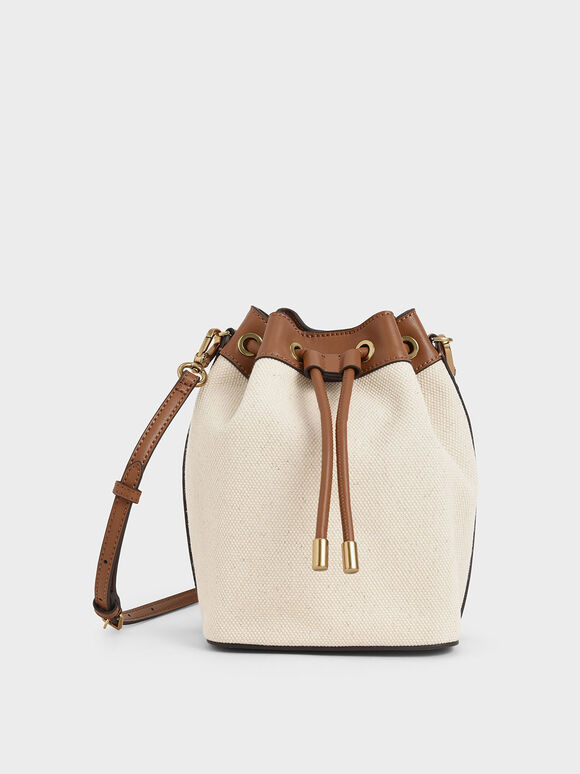 Canvas Drawstring Bucket Bag, Multi, hi-res