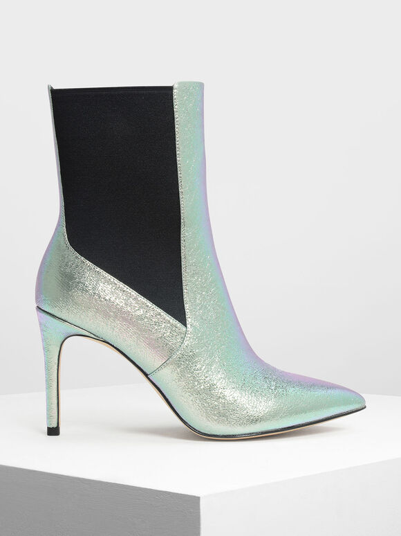 Holographic Pointed Toe Chelsea Boots, Multi, hi-res