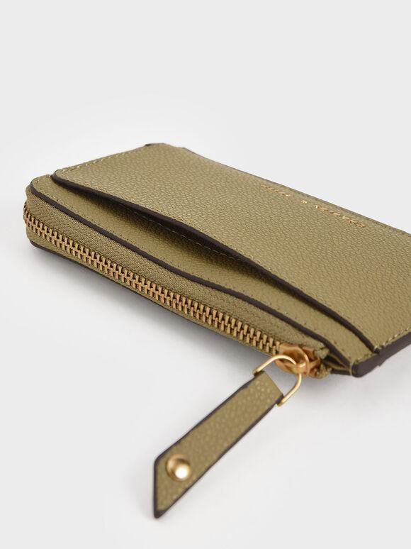 Zip Card Holder, Khaki, hi-res