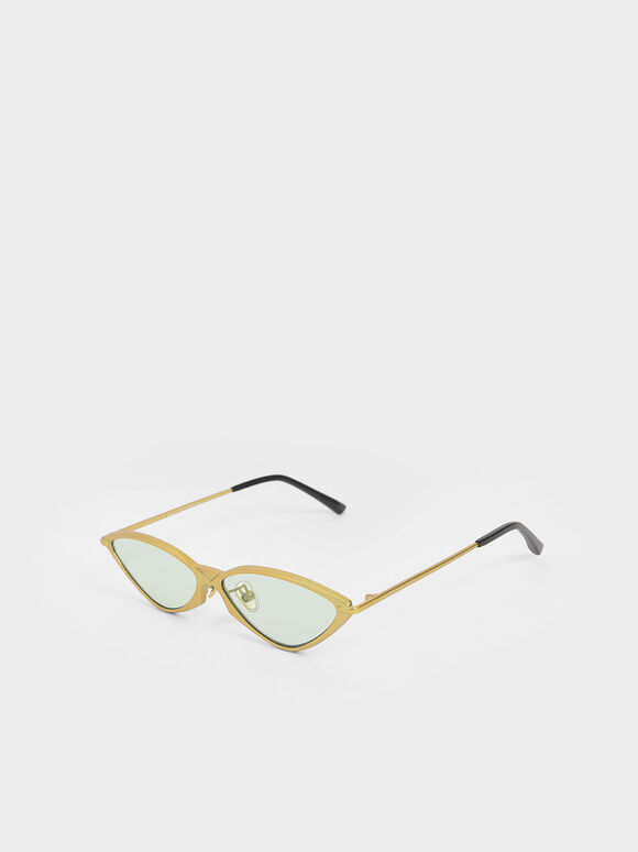 Metal Frame Cat-Eye Sunglasses, Green, hi-res
