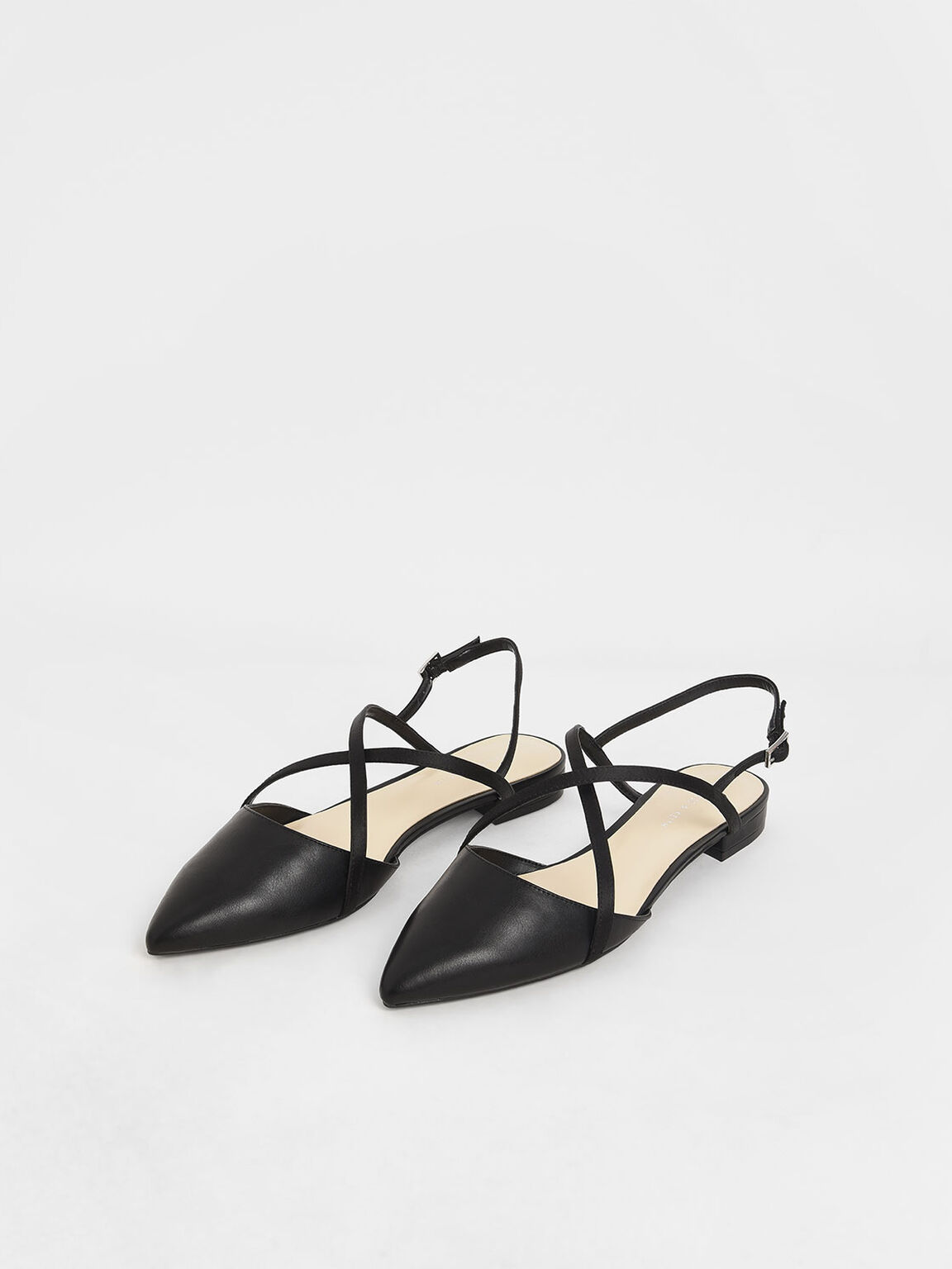 Satin Criss Cross Strap Flats, Black, hi-res