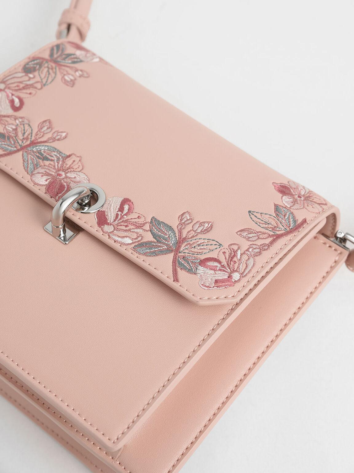 Floral Embroidered Turn Lock Bag, Pink, hi-res