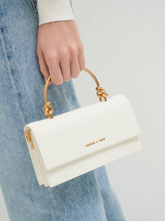 Metallic Handle Long Wallet, White, hi-res