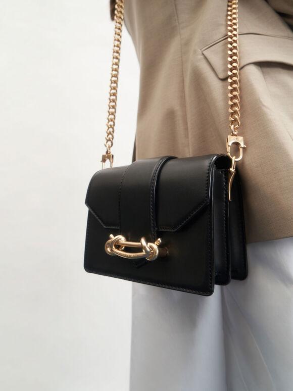 Metallic Buckle Crossbody Bag, Black, hi-res
