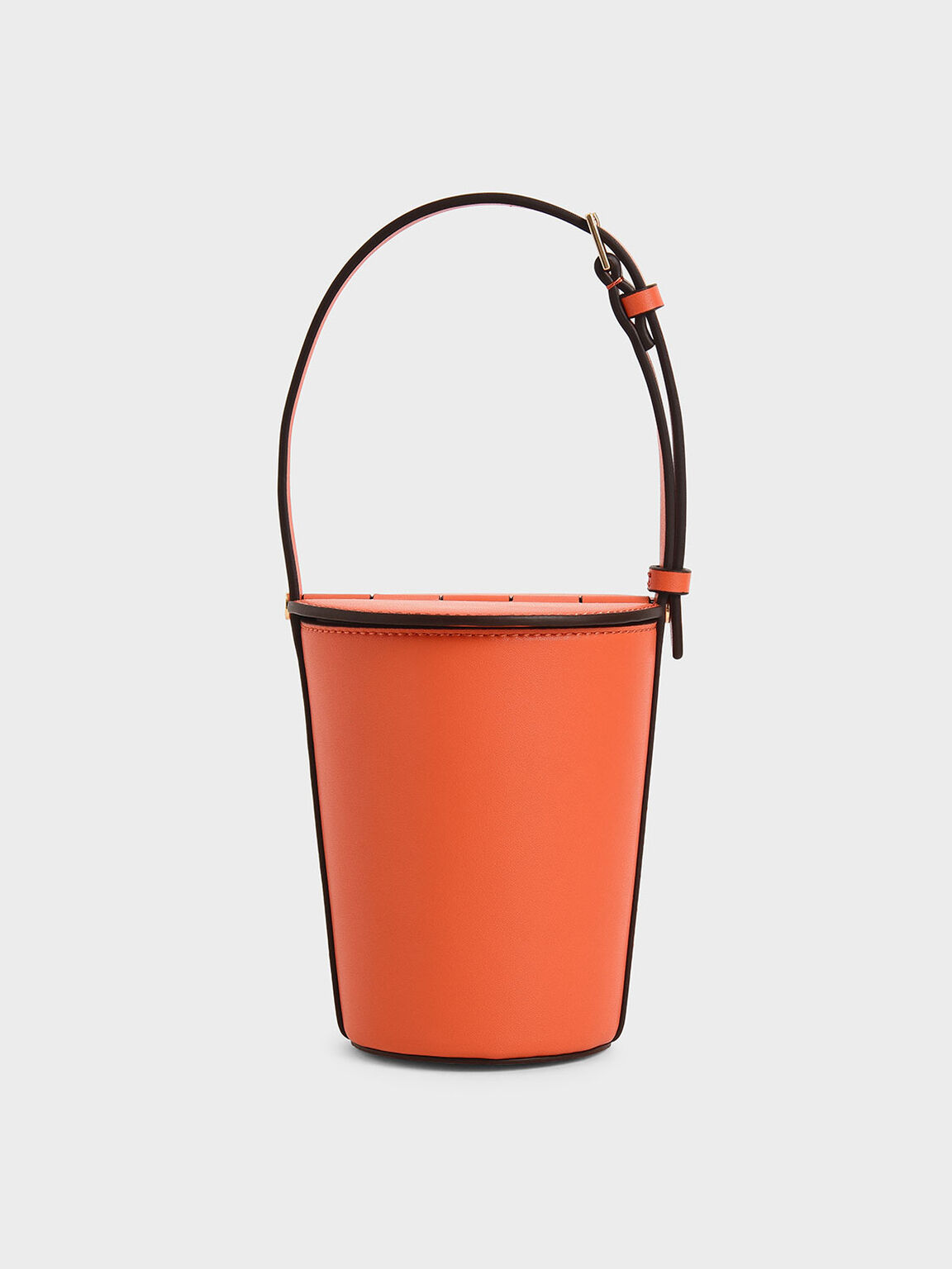 Cylindrical Bucket Bag, Orange, hi-res